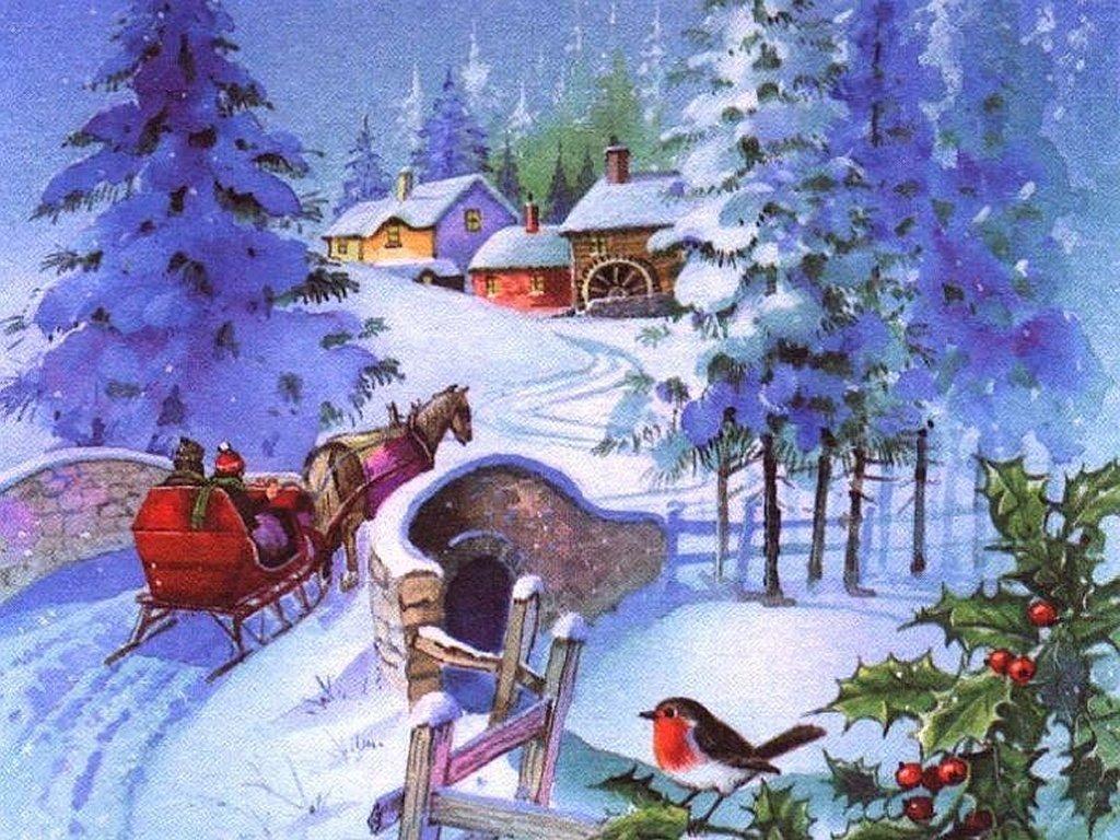 Зимний пейзаж 1024 x 768