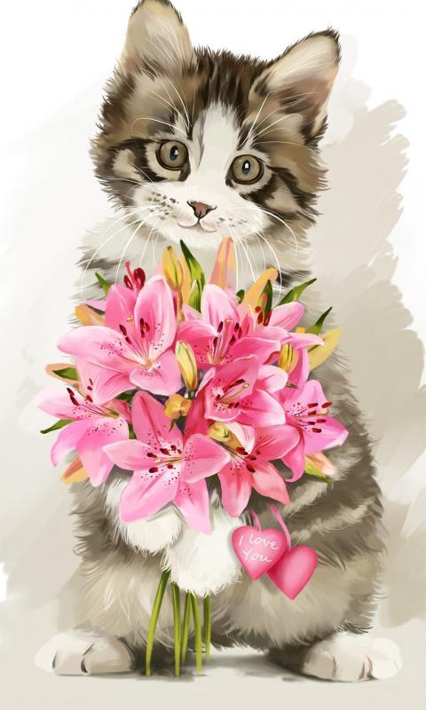 Открытка с котом и цветами 180