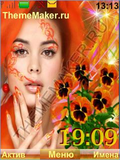 Девушка с цветами анютками