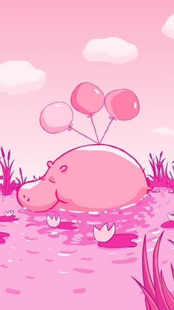 Рисунки розовый бегемот