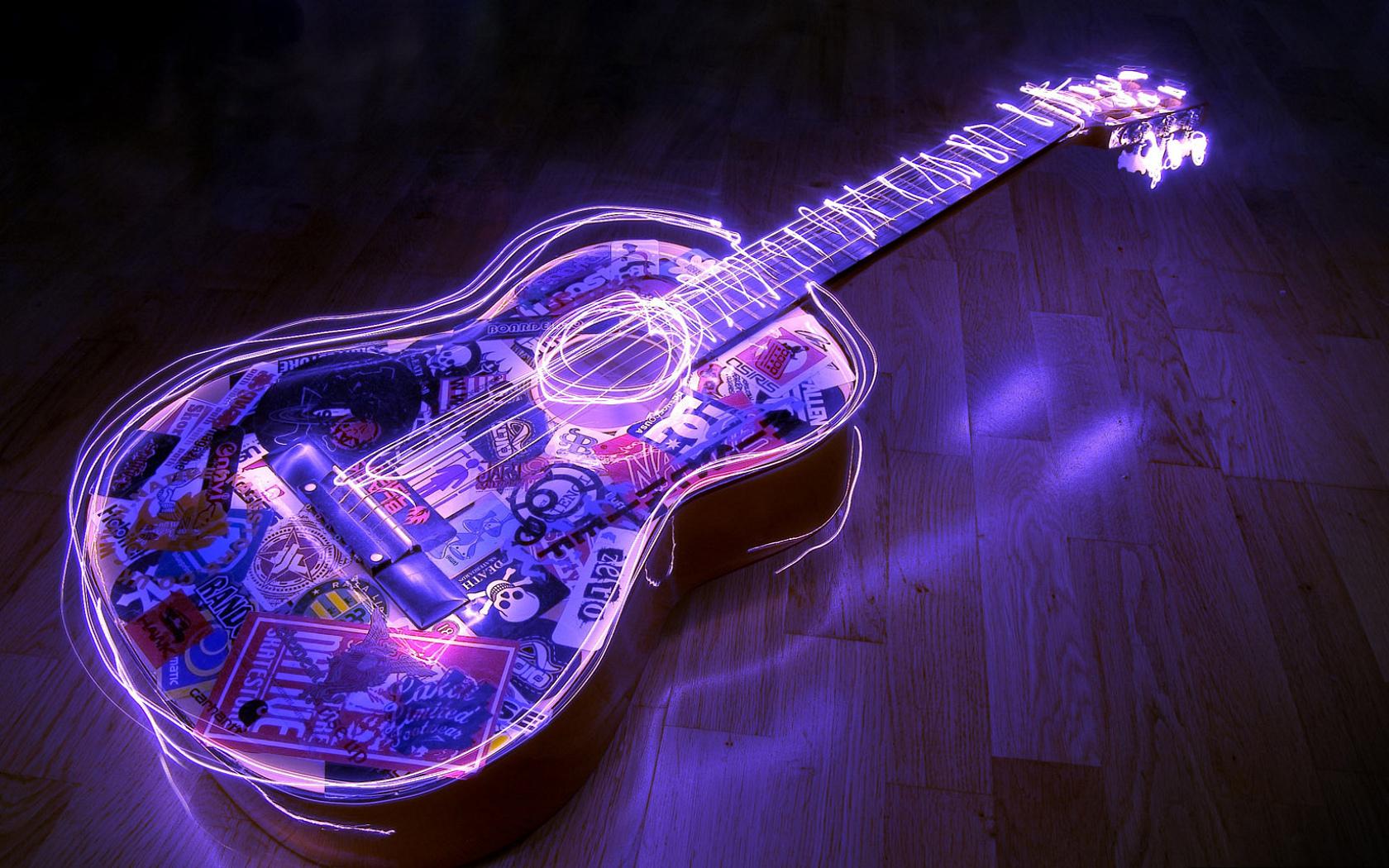 Неоновая гитара 1680 x 1050