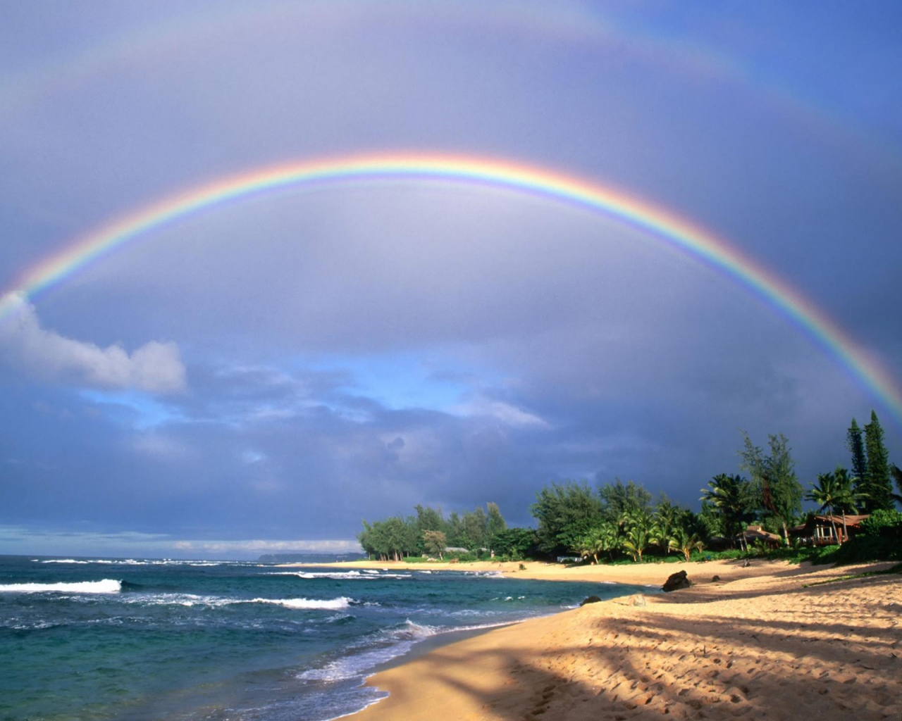 Радуга море пляж 1280 x 1024