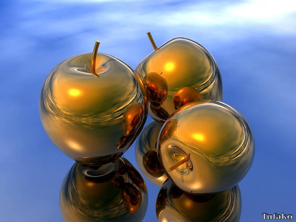 Золотые яблоки - обои на рабочий стол