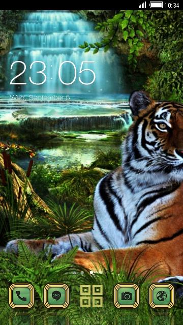 Tiger at the waterfall