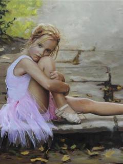 240x320 девочка, девушка, балерина, юная, пуанты, Настроение обои для