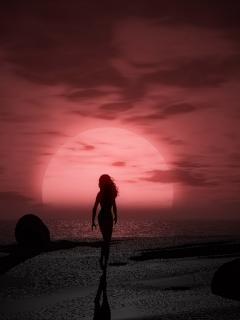 Девушка на фоне заката...