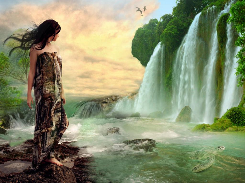 Офигенный водопад 1024 x 768