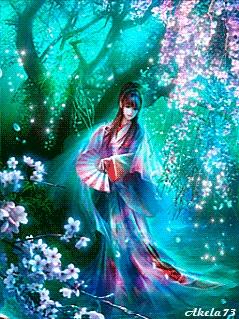 Рисунок девушка  в кимоно у сакуры