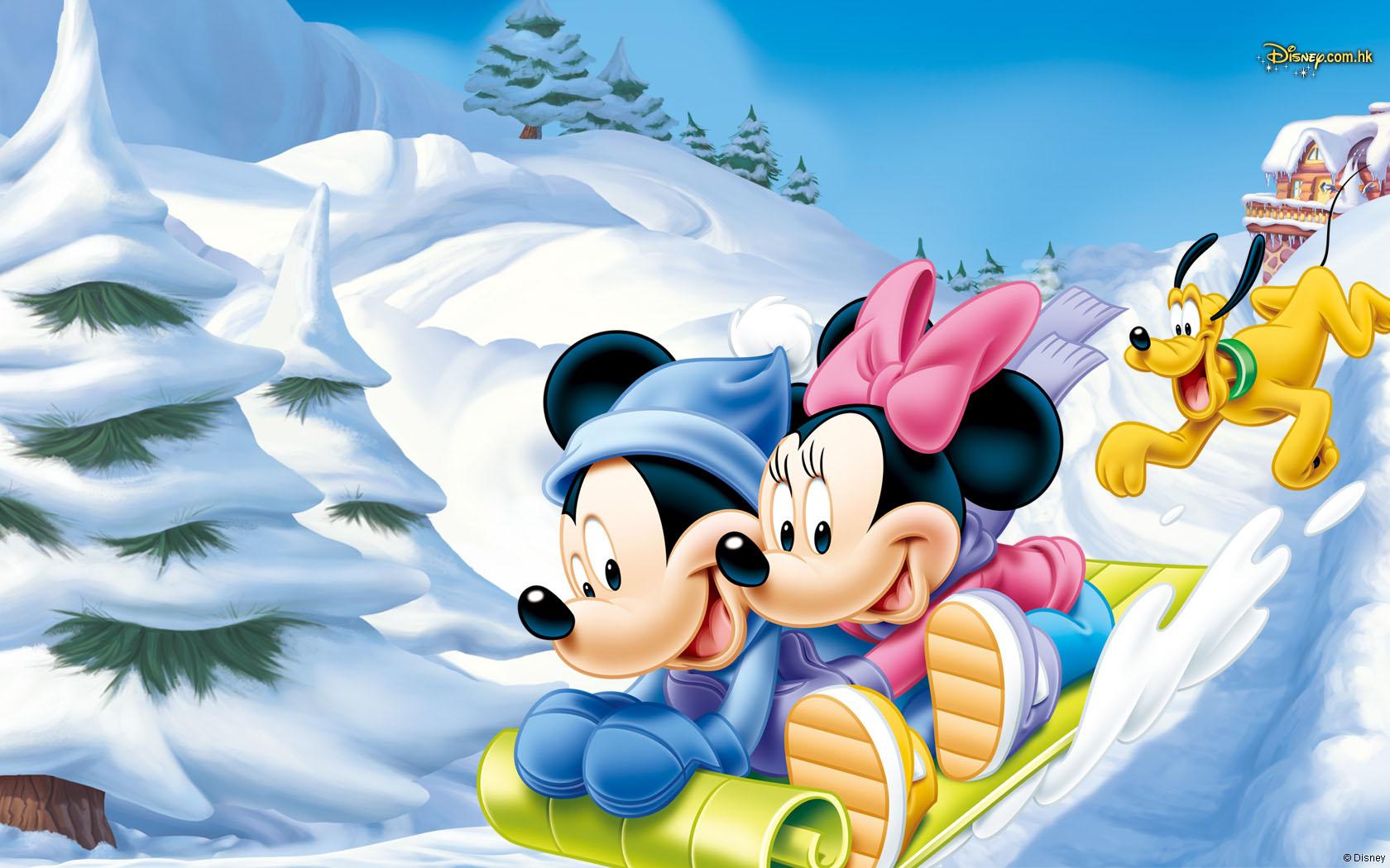 обои Микки Маус / Micky Mouse и Мини / Minie мчатся с горки на санках...