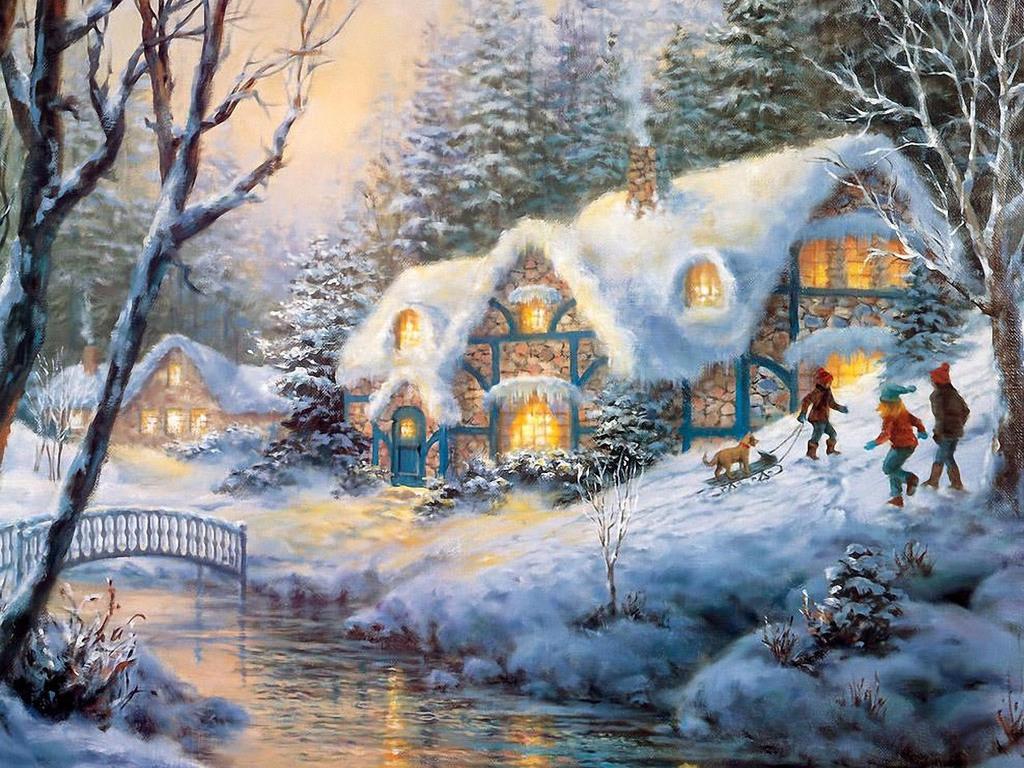Зима обои на рабочий стол 1024x768 №747617