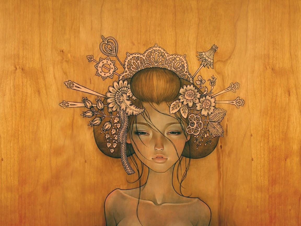 Девушка, дерево, рисунок, gdefon.